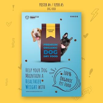 Шаблон плаката премиум органических кормов для домашних животных