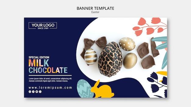 イースターのためのダークチョコレートとバナーテンプレートコンセプト