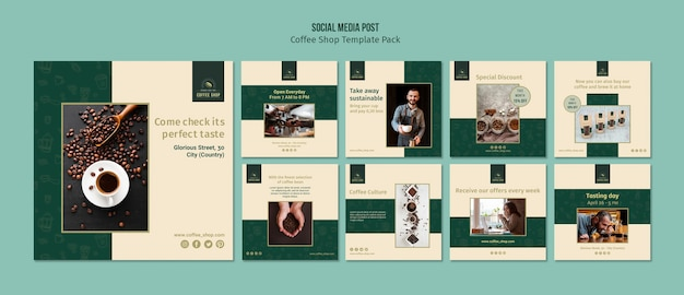 Кофейня баннер социальный медиа пост пакет