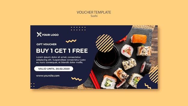 Шаблон ваучера на концепцию суши