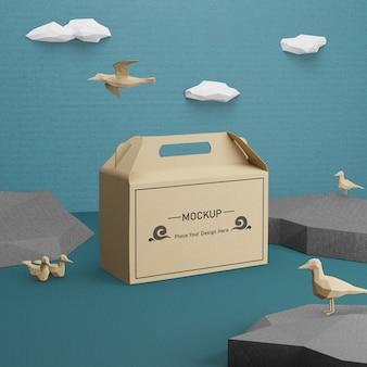 Бумажный пакет крафт для дня океана с макетом