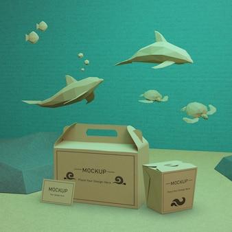 Бумажные пакеты крафт с дельфинами и черепахами