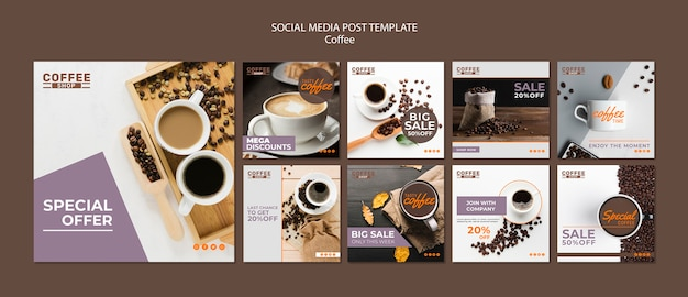 コーヒーショップのソーシャルメディアの投稿テンプレート