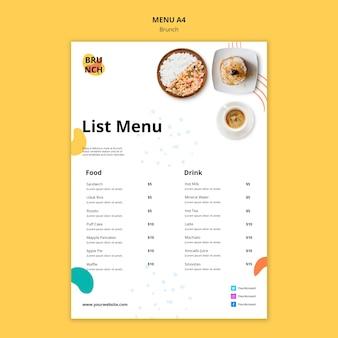 Шаблон меню с концепцией позднего завтрака