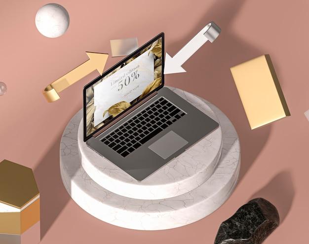 Высокий вид современного ноутбука макет