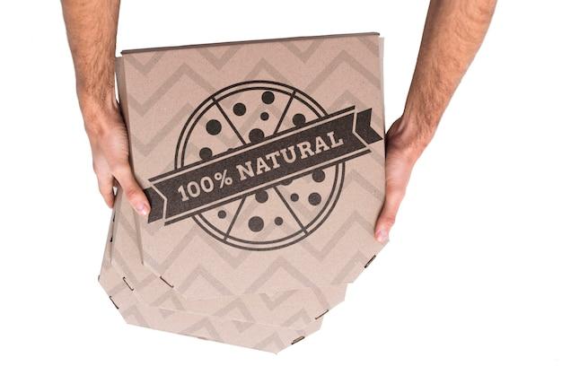 Вид сверху коробки доставки пиццы