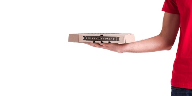 コピースペース付きの薄いピザ配達ボックス