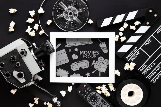 Вид сверху винтажный кинотеатр макет