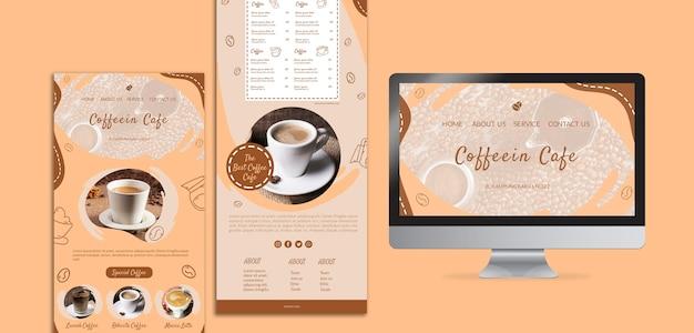 コーヒーパックのさまざまなテンプレートと画面