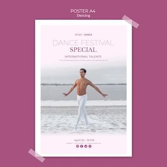 Шаблон плаката школы танцев с мужчиной, танцы