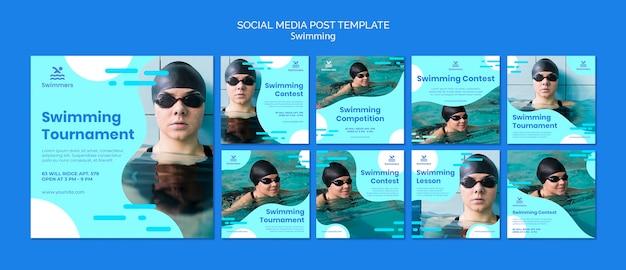 水泳ソーシャルメディアの投稿テンプレート