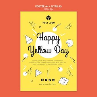 Флаер с желтым шаблоном дня
