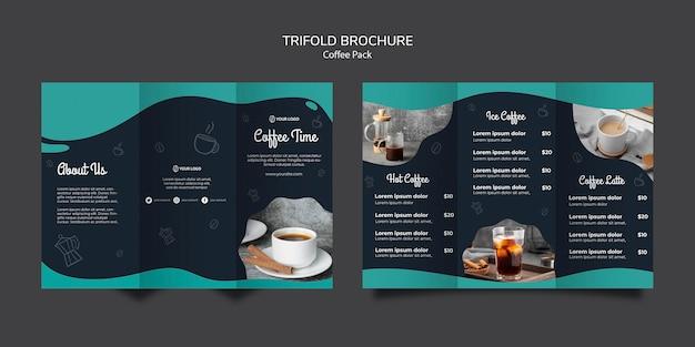 コーヒーのコンセプトのパンフレットテンプレート