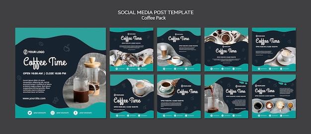 Шаблон сообщения в социальных сетях с концепцией кофе