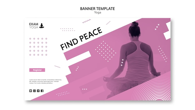 Шаблон баннера с дизайном йоги