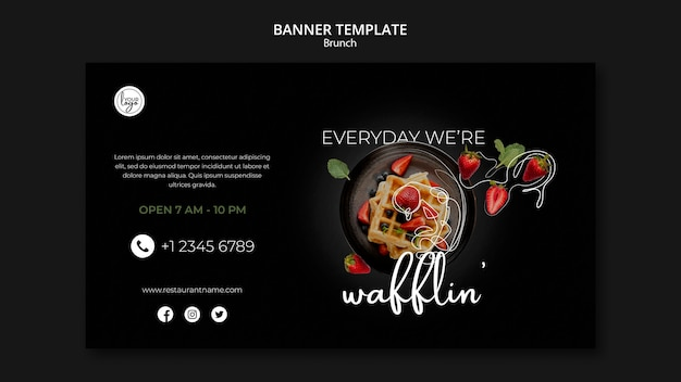 Шаблон баннера для бранча дизайна ресторана