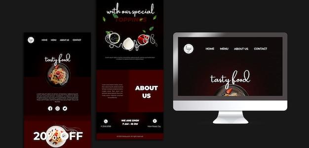 ブランチレストランのデザインのランディングページ