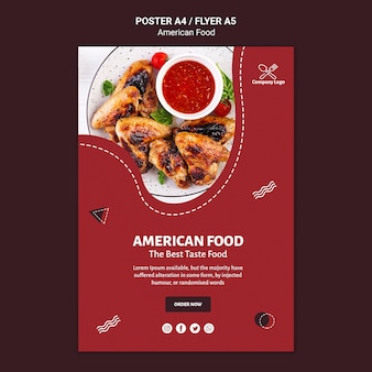 アメリカ料理のポスターテンプレート