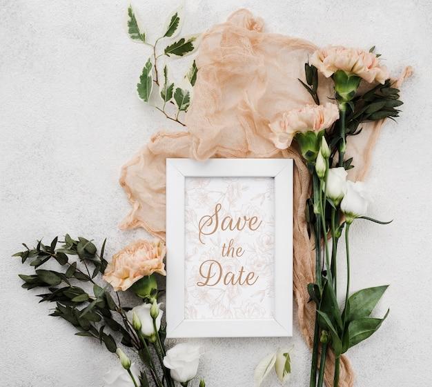 花の結婚式のコンセプトモックアップ