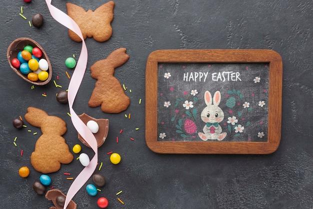 卵とウサギの形のクッキー