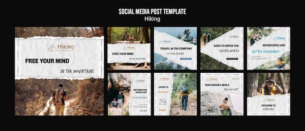 ハイキングソーシャルメディアの投稿テンプレート