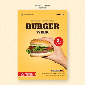 アメリカ料理のテンプレートポスター