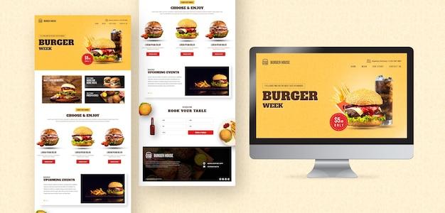 アメリカ料理のウェブサイトとアプリのテンプレート