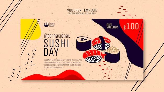 Креативный шаблон ваучера на суши