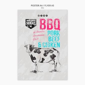 Шаблон постера для барбекю с коровой