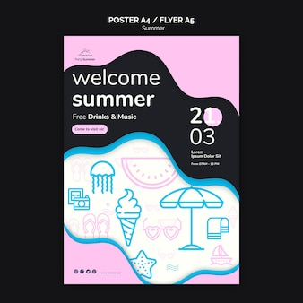 Летняя пляжная вечеринка розовый каракули шаблон плаката