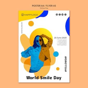 黄色の幸せな日ポスター世界笑顔