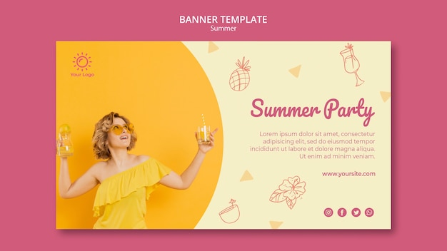 Шаблон баннера с концепцией летней вечеринки