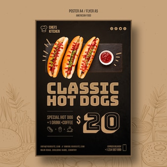 Американский классический шаблон флаера хот-догов