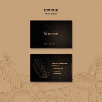 Американский классический шаблон визитки хот-доги