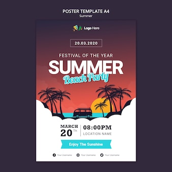 Шаблон плаката летней вечеринки