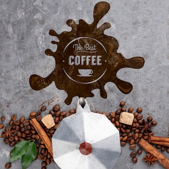 トップビューコーヒー豆モックアップ