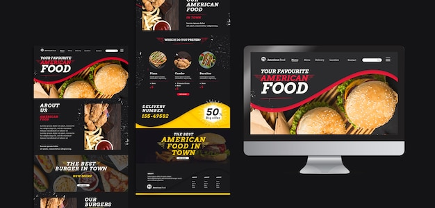 おいしいアメリカ料理のプレゼンテーション