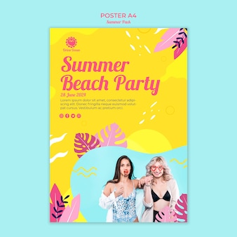 夏のビーチパーティーのためのチラシ