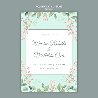 日付の花の結婚式のポスターテンプレートを保存します。