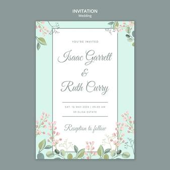 日付の花の結婚式の招待状のテンプレートを保存します