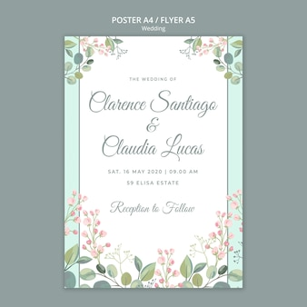 日付の花の結婚式のチラシテンプレートを保存します。