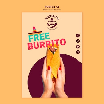 Шаблон постера ресторана мексиканской кухни