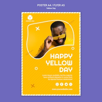 黄色の日とポスターテンプレート