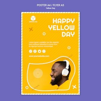 黄色の日とポスターのテンプレート