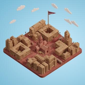 Макет миниатюрной модели дня городов мира