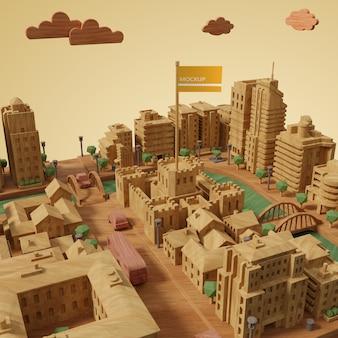モックアップ付きの都市世界の日モデル