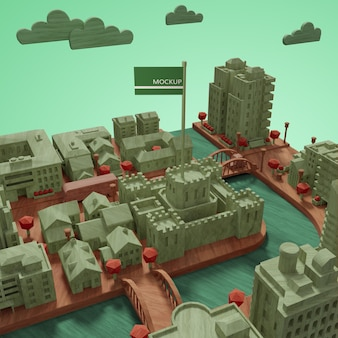 モックアップ都市世界の日モデル