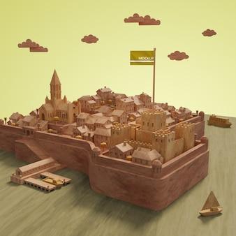 都市のモックアップミニチュアモデル