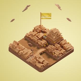 Городской день мира зданий миниатюрная модель