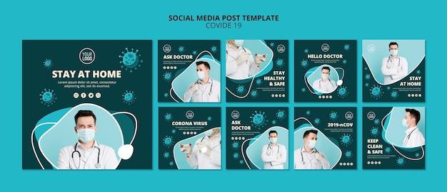 コロナウイルスのソーシャルメディア投稿テンプレートと写真